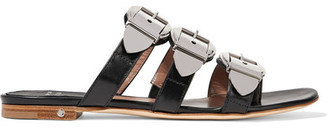 Laurence Dacade - Natalia Buckled Leather Slides - Black $800 thestylecure.com
