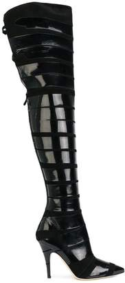 Moschino patent stripe thigh boots