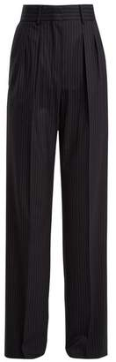 Max Mara Wide Leg Pleated Wool Trousers - Womens - Navy Stripe