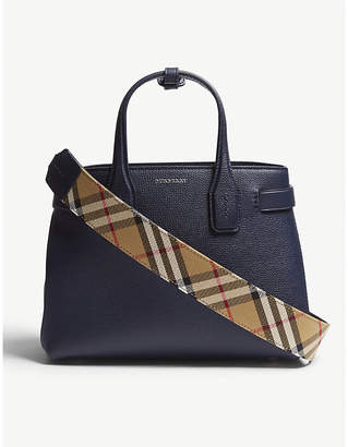 Burberry Regency Blue Check Vintage Banner Grained Leather Tote Bag