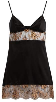 Coco De Mer - Ametrine Lace Panel Silk Blend Slip - Womens - Black Gold