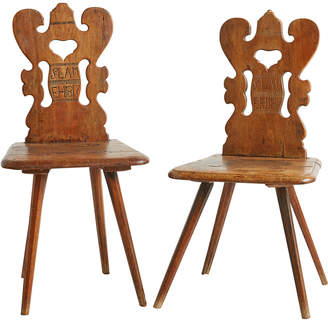 Rejuvenation Pair of Alsatian Folk Carved Wedding Chairs