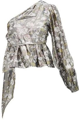 Ganni Metallic Floral Print One Shoulder Blouse - Womens - Silver