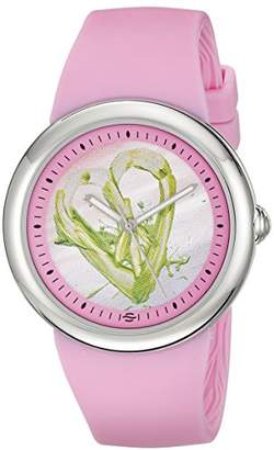 Philip Stein Teslar Women's F36S-PLPC-P Quartz Stainless Steel Dial with Green Peace Sign Heart Watch