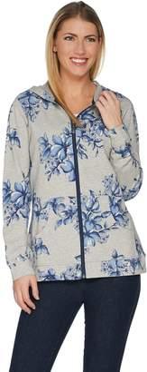 Denim & Co. Active Floral Printed Grey Heather Knit Jacket