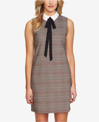 CeCe Glen Plaid Tie-Neck Dress
