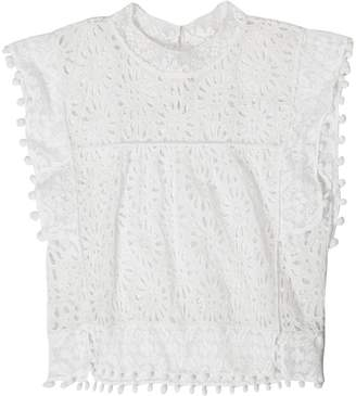 Isabel Marant Kery broderie-anglaise pompom-trimmed top