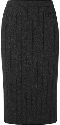 Marc Jacobs Ribbed Stretch-lurex Pencil Skirt - Black