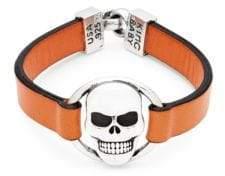 King Baby Studio Skull Sterling Silver and Leather Bracelet