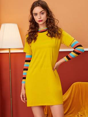 Shein Round Neck Solid T-shirt Dress Without Tee