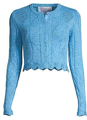 Victor Glemaud Women's Cropped Scalloped Cardigan