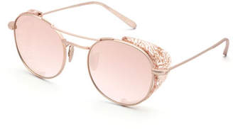 KREWE Orleans Round Mirrored Sunglasses w/ Side Blinders, Rose Gold