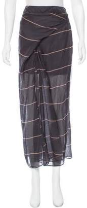 Brunello Cucinelli Striped Silk Maxi Skirt w/ Tags