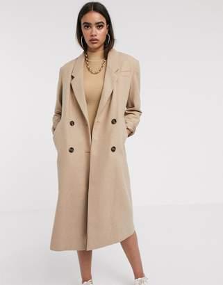 Asos Design DESIGN double breasted longline coat in camel