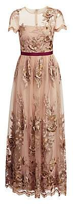 ML Monique Lhuillier Women's Floral-Applique Gown