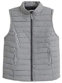 Violeta BY MANGO Gingham check quilted gilet