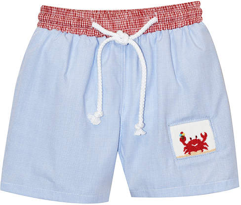Blue & Red Crab Smocked Swim Trunks - Infant, Toddler & Boys