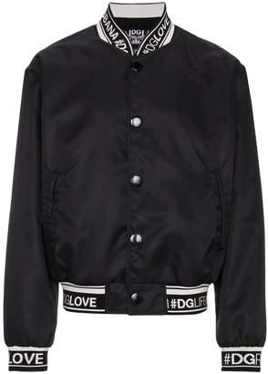 Dolce & Gabbana Black Logo Bomber Jacket