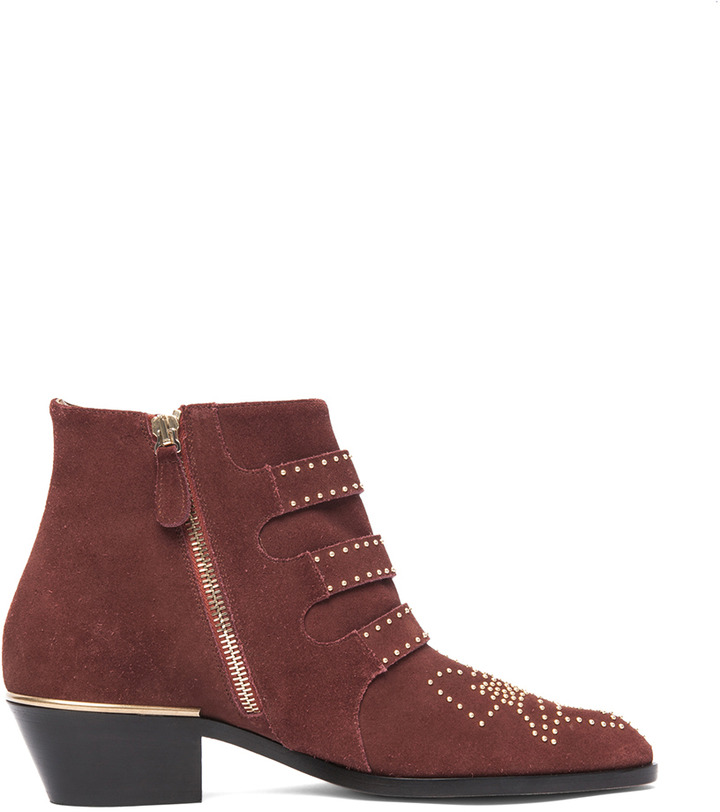 Chloé Susanna Suede Studded Booties in Red Vervain