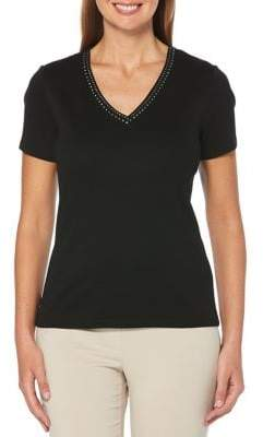 Rafaella Petite Embellished V-Neck Top