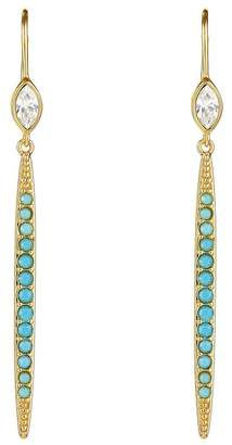 Adore Gold Plated Pave Swarovski Crystal Accented Linear Drop Earrings