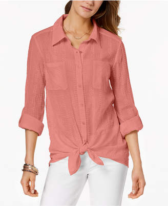 Style&Co. Style & Co Petite Tie-Hem Shirt, Created for Macy's