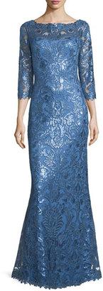 Tadashi Shoji 3/4-Sleeve Floral Paillette Lace Gown $508 thestylecure.com
