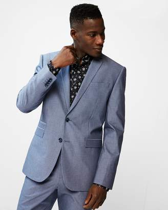 Express Slim Blue Chambray Cotton Suit Jacket