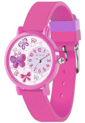 Tikkers Children's Quartz Watch with Multicolour Dial Analogue Display and Pink Silicone Strap TK0074