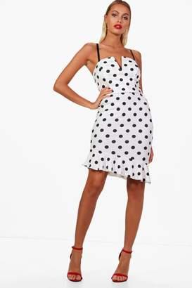 boohoo Polka Dot Plunge Bralet and Ruffle Skirt