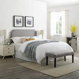 HomeFare Clip Corner Upholstered Full / Queen Headboard and Bench Set in Heathered Grey