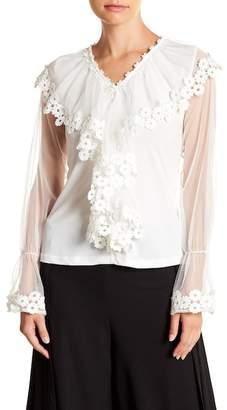 Gracia Flower Lace Ruffle V-Neck Top