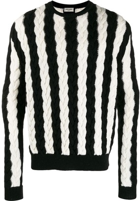 Saint Laurent striped chunky cable knit sweater