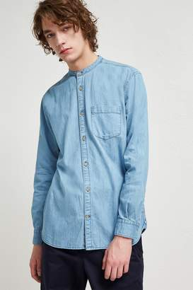 French Connenction Denim Grandad Collar Shirt