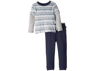 Splendid Littles Reverse Stripe Long Sleeve Tee Set (Toddler)