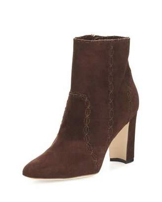 Manolo Blahnik Rubio Suede 90mm Ankle Boot, Brown $1,155 thestylecure.com