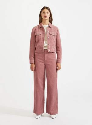 Miss Selfridge Pink cord trucker jacket
