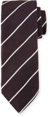 Canali Striped Silk Tie, Brown