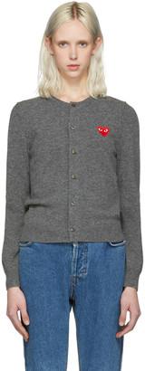 Comme des Garçons Play Grey Wool Heart Patch Cardigan $390 thestylecure.com