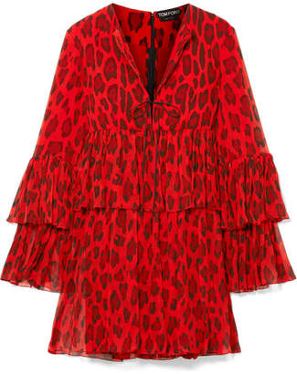 Tom Ford Tiered Leopard-print Silk-crepon Mini Dress