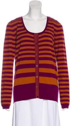 Agnona White Cashmere Striped Cardigan