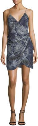 Haute Hippie Cassie V-Neck Sleeveless Draped Silk Printed Dress