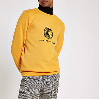 River Island Yellow slim fit embroidered sweatshirt