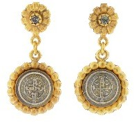 Black Diamond Virgins, Saints & Angels San Benito Flower Earrings in Gold  