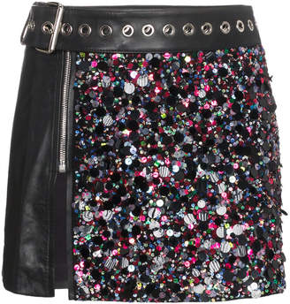 Beau Souci Leather and Sequin Mini Skirt