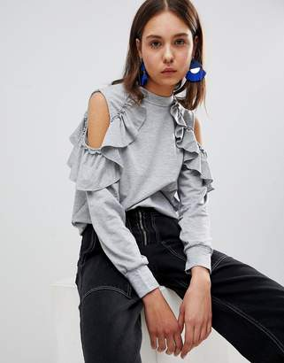 Glamorous Cold Shoulder Ruffle Sweatshirt