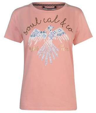 Soul Cal SoulCal Womens Fashion Luxe T Shirt Crew Neck Tee Top Short Sleeve Print