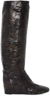 Elena Iachi 50mm Python Embossed Faux Leather Boots