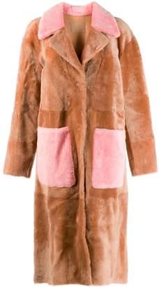 Drome contrast details fur coat