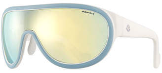 Moncler Two-Tone Mirrored Shield Sunglasses, Blue/White